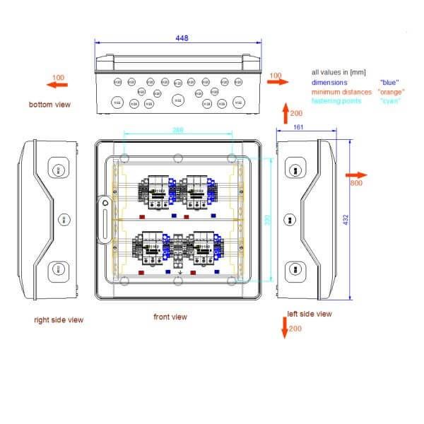 enwitec přepěťová ochrana DC typ I + II 4 MPPT, svorky