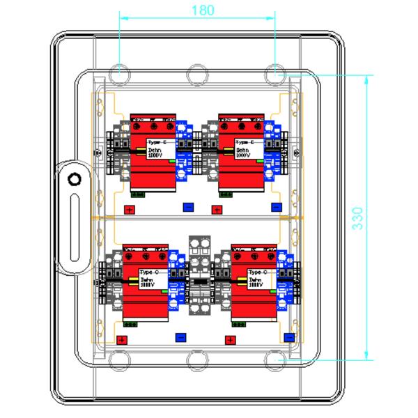 Přepěťová ochrana enwitec DC typu II, 4 MPPT, svorky
